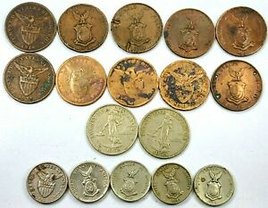 17pcs Circulated Philippines 1 5 25 Centavos Coins  1903-1958  N17D