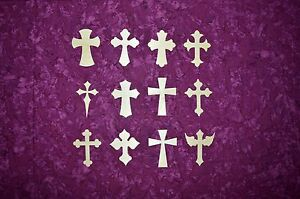 """Unfinished Wood Cross 4"""" inch tall Crosses Variety of Styles 6 Pieces"""