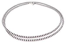 "60"" Navajo Pearls Sterling Silver 4mm Beads Necklace"