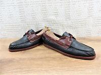 Sebago Men's leather Docksides Navy blue & wine Boat Deck Shoes UK 9 US 10 EU 43