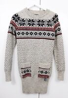 Superdry Ladies Nordic Knit Jumper Dress Long Top Sleeves Size Small Warm