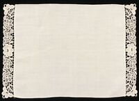"Set of 4 Vintage Floral Lace & Linen 11x16"" Dinner Placemats (RF907)"
