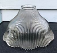 Vintage HOLOPHANE RIBBED PLEATED GLASS BELL SHADE SCALLOP