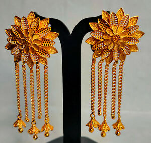 """Indian 22K Gold Plated 3"""" Long Indian Jhumka Jhumki Earrings Party Set AJG2"""