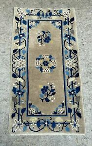 """VINTAGE ANTIQUE FLORAL DECORATED CHINESE ORIENTAL RUNNER RUG 47"""" X 25"""""""