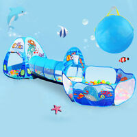 3-in-1 Pop Up Children Play Tent Large Playhouse Tunnel Ball Ocean Pit Toy UK