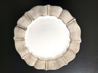 Ceramic Serving Plate Platter Large White Silver Serveware By NOCAL LDA Portugal