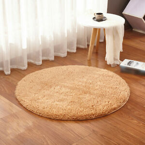 100cm Round Floor Mat Rug Anti-Skid Shaggy Area Rug Room Home Bedroom Carpet H0