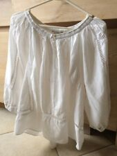 COUNTRY ROAD Ladies Peasant Hobo Style White Top Size S