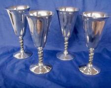 "Vintage Silver Electro Plate Lot 4 Goblets Made in Spain EPB Grape Vine 7"" Lot B"