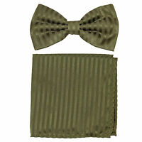 New formal men's pre tied Bow tie & Pocket Square Hankie stripes Olive green