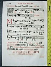 Rare huge deco.music leaf,Gradual,Gregorian Chant,1671 #585f