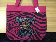 NEW  Apprx. 17x13 Pink & Black Zebra Bling Basketball Mom Bag-Purse-tote