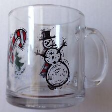 STARBUCKS CANDY CANE SNOWMAN SNOWFLAKES GLASS COFFEE MUG, MADE IN USA, MINT