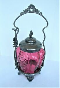 Victorian Cranberry Glass Pickle Castor Set - Paneled Sprig By Northwood 1895