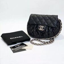 Authentic Chanel Chain Around Body Lambskin Leather Black Flap Bag Medium EUC