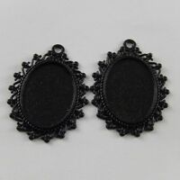 Gun Black Color Ellipse Lace Look Alloy Cameo Base Tray Necklace Jewelry 12pcs