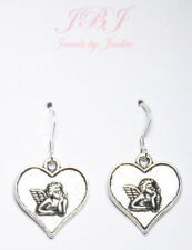 Cupid Heart Charm Earrings Pendant 925 sterling silver hooks pewter Valentine