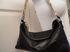 BR BANANA REPUBLIC Black Leather Small Purse Gold Tone Linked Strap Zipper Pull