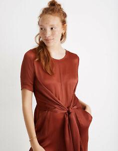 Rujuta Sheth Paris Wrap Jumpsuit XS Satin Rust Orange / Red Tie Front Madewell