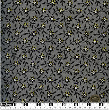 Quilting Fabric Black & White Flowers hint of Yellow 100% Cotton Fat Qs | BKF11
