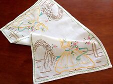 "Vintage Hand Embroidered White Cotton "" Crinoline Ladies "" Tray Cloth 16x10 Inch"