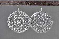 Silver cutout filigree Big Huge medallion disc dangle earrings 2 5/8 inches long