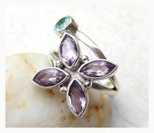 925 Sterling Silver Faceted PURPLE AMETHYST BLUE TOPAZ RING SIZE 7 3/4 - P