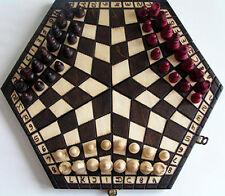 Schach, Schachspiel für Drei, 32 x 28 x 4 cm, Holz