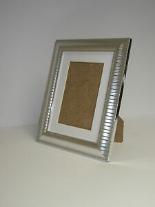Two Tone Silver 7x9 Picture Photo Frame Mount 4.5x6.5 Free Standing