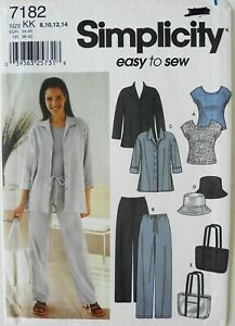 Simplicity 7182 EASY  Misses Pants Shirts Tops Bag Hats Sewing Pattern Sz 8-14