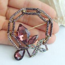 "Unique 2.17"" Purple Rhinestone Crystal Spiderweb Brooch Pin Costume EE06559C5"