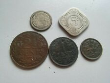 Netherlands set of 5 coins 10(1910 silver)+5+2,5+1+1/2 cents 1910-1917