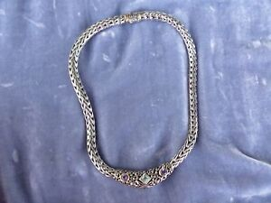 THICK GORGEOUS STERLING SILVER HRDY STYLE CHOKER NECKLACE W SEMI PRECIOUS STONES