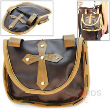 Bishops Medieval Belt Pouch Holy Cross Cordura Leather Bag Renaissance Festival