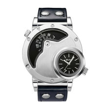 Oulm Men's Dual Time Zone Watch Cool Stainless Steel Case Leather Strap Watch