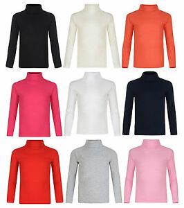 KIDS BOYS GIRLS POLO NECK RIBBED JUMPER TOP TURTLE ROLL NECK 4-14 YEARS NEW