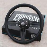 "14"" Matte Black Steering Wheel with Black Vinyl Half Wrap and Billet Horn Button"