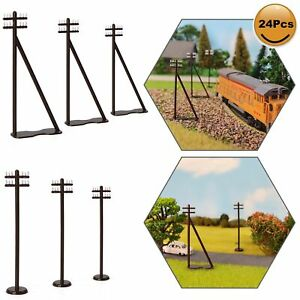 24pcs HO Scale Power Pole 1:87 Telegraph Telephone Poles 7.5cm Railway Diorama