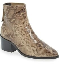 $140 Topshop Midnight Pointy Toe Snake Embossed Ankle Bootie 36 5.5