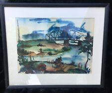 1940 Watercolor and Airbrush Painting Signed Stanly Berkemeyer