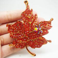 Elegant Maple Leaf Red Rhinestone Crystal  Woman Vintage Style Brooch Pin