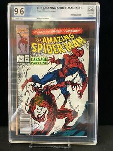 Amazing Spiderman #361 Graded 9.6 First Full Carnage newsstand white pages