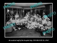 OLD HISTORIC PHOTO OF THE AUSTRALIAN NAVY HOSPITAL SHIP SS ORANJE 1941 THE CREW