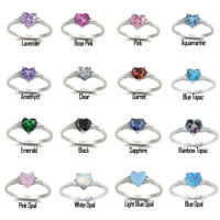 925 Sterling Silver Cute Heart CZ Wedding Band Promise Ring NEW