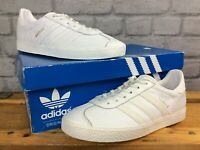 ADIDAS UK 4 EU 36 2/3 WHITE LEATHER GAZELLE TRAINERS CHILDRENS GIRLS LADIES