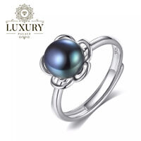Natural Freshwater Pearl Solid 925 Sterling Silver Adjustable Flower Rings