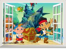 Jake Neverland Pirate Treasure 3D Window Wall Decals Kids Party Decor Sticker