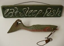 New listing Handmade In The Usa_Mike Hutchison Carved Driftwood Trout & Eat Sleep Fish Sign
