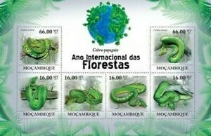 Mozambique - Serpents - 6 Tampon Feuille 13A-518